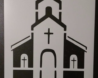 Church Front Building Custom Stencil FAST FREE SHIPPING
