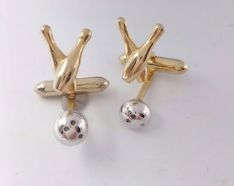 Bowling Cufflinks, Bowling Ball Pins Cuff Links, Signed Swank Two Arm Cufflinks, Men's Jewelry Accessories Gifts