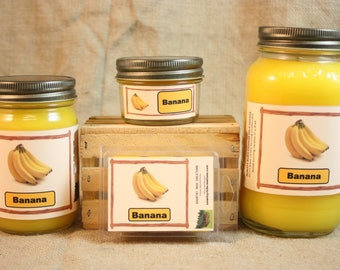 Banana Candles and Wax Melts, Highly Scented Candle and Wax Tarts, True Banana Scent, Great Hostess Gift, Fruit Scented Candle