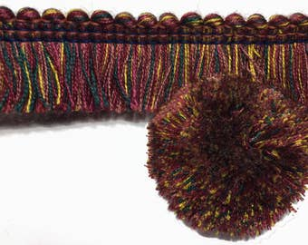 Red Earthy Multi Colored Brush Trim - Rutty Red Brush Trim - Pillow Trim - Thick Brush Trim - Mustash Trim - 1 yard