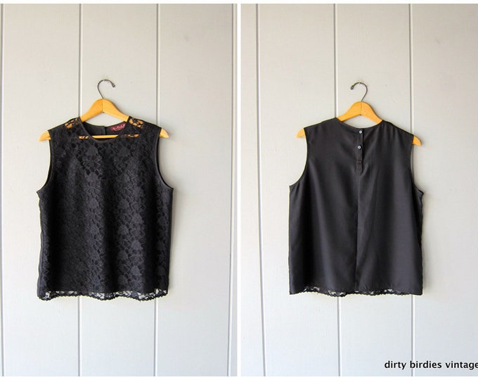 80s Black Lace Top | Sleeveless Boxy Blouse | Vintage Lace Tee Women's Large
