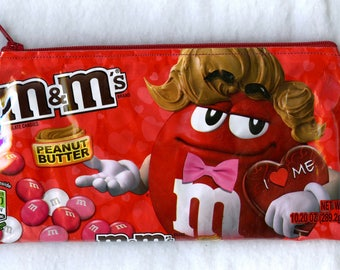 NEW! 2018 Valentine Design M&M's Christmas Peanut Butter Candy Wrapper Up-cycled Zippered Bag/Pouch