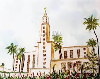 Los Angeles LDS Watercolor Temple Print
