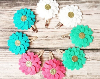 Merino wool felt daisy flower clips with fools gold centre in pink, white, green, blue, purple, red and lots more colours