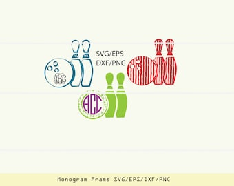 Bowling SVG, bowling party, bowling monogram, bowling clipart, bowling iron on, svg files for cricut INSTANT DOWNLOAD - Royalty Free.