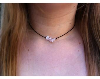 ROSE QUARTZ CHOKER: Rose Quartz Necklace, Rose Quartz Crystal Choker, Rose Quartz Chakra Choker, Rose Quartz Jewelry, Quartz Healing Crystal
