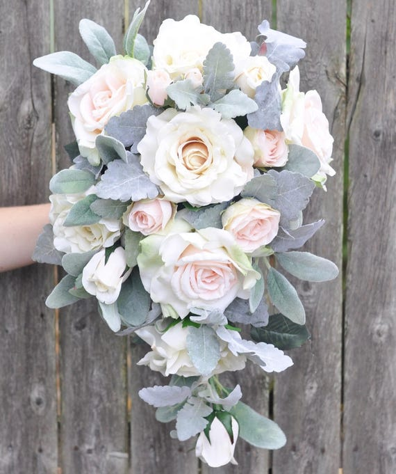 Cascade Wedding Bouquet Cream Rose Apricot Italian