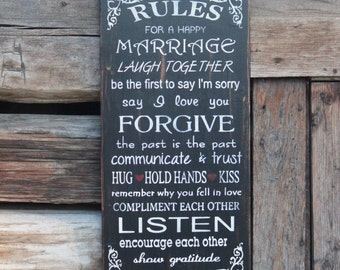 Rules for a happy marriage wood wedding sign- Anniversary Gift - Marriage Sign - Love - Wedding Gift