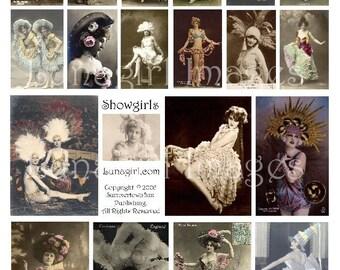 VINTAGE SHOWGIRLS digital collage sheet, French postcards, Belle Epoque Paris cabaret photos art Victorian women costumes, ephemera DOWNLOAD
