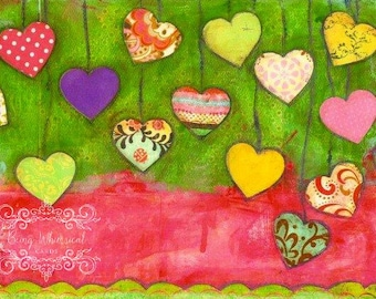 ART PRINT Hearts A Hanging Mixed Media Whimsical Art print A4 size Free local postage