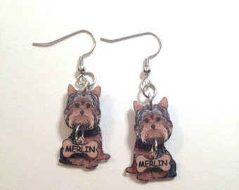 Yorkshire Terrier Yorky Yorkie Earrings Handcrafted Plastic Jewelry 3 Dimensional Personalized with Pets Name Unique Gifts for Her Realistic