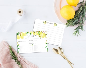 Recipe Cards Set illustrated with lemons - 6 or 12 cards - Illustrated Recipe Cards - Recipe Cards - Kitchen - Illustrated recipe