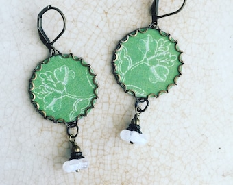 "Paper Jewelry Earrings ""Fresh Green"" Paper for the First Year Wedding Anniversary"