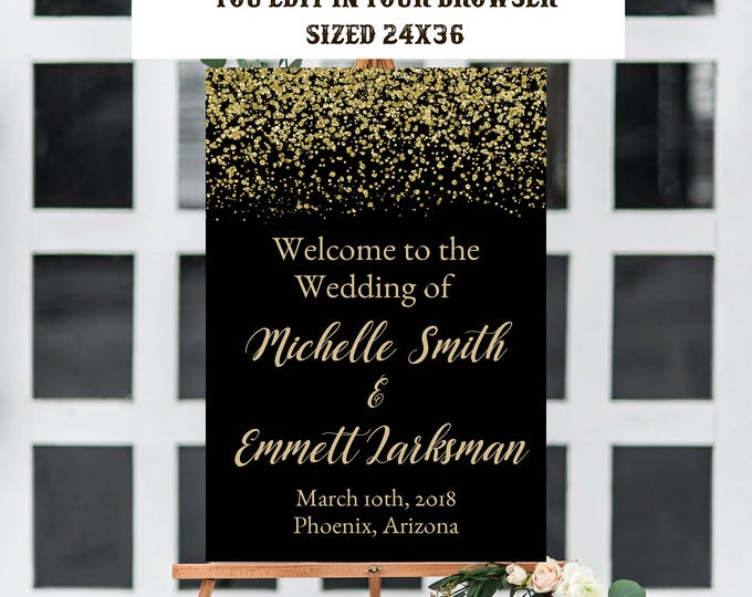 Wedding Welcome Sign Template, Black and Gold Welcome Sign Template, Instant Download, Printable, Editable, Black and Gold Wedding, Template