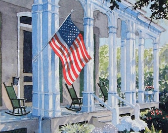 "Cape May New Jersey, Watercolor Limited Ed. Art Print Matted to 11"" x14"",  landscape, American Flag"