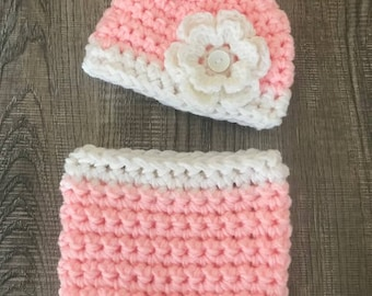 Crochet Baby Girl Pixie Hat and Diaper Cover