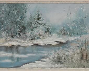 "Oil painting landscape ""Beautiful Winter"""