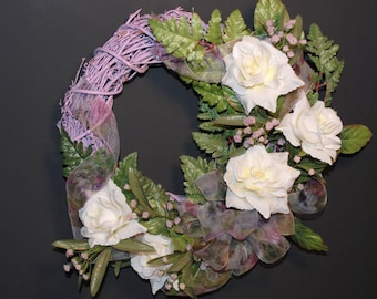 "Spring Wreath Lavender Natural Twig and Ivory Roses, Artisan Made Spring 12"" Purple Lilac Wreath Ivory Dew Drops Roses"