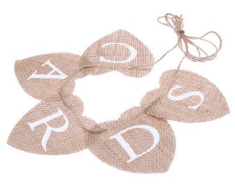 Heart shaped burlap cards banner
