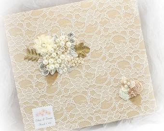 Personalized Wedding Photo Album in Lace Gold Ivory Champagne Vintage Style Elegant