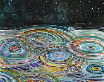Ripples Watercolor Print - painting, nature, watercolor painting, art print
