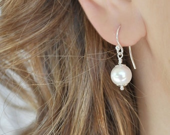 Pearl Drop Earrings, Dainty Wedding Earrings. Flowergirl Earrings.