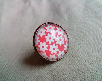 Red White #BR13 flowers ring