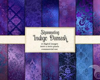 Shimmering Indigo Damask Digital Paper, glitter foil, Backgrounds, purple Glitter, Foil Scrapbook Paper Pack, Sparkle Commercial Use