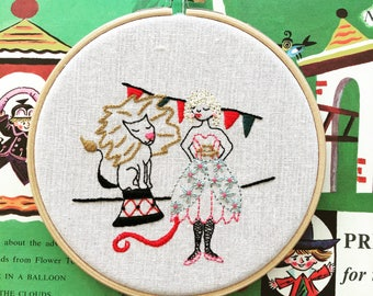 hand embroidered wall charm | modern embroidery | luna the lion tamer  | hand embroidered wall hanging