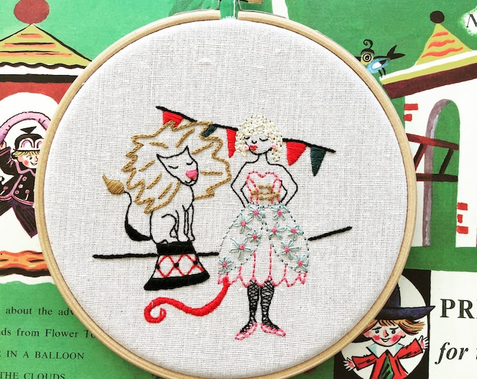 hand embroidered wall charm   modern embroidery   luna the lion tamer    hand embroidered wall hanging