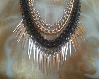 OOAK Mixed Metal Necklace w Spike Fringe, Four Chains- Gold, Silver, Black, Gunmetal; Chunky Rope Modern Tribal Underground Hip Hop Festival