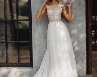 Wedding dress 'TUARIN' // Romantic a-line wedding gown, exquisite handmade beading, elegant