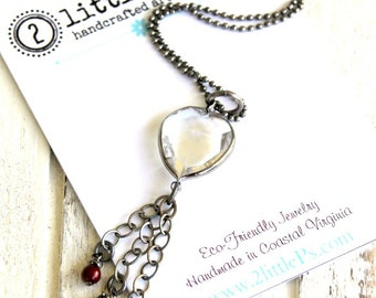 As Seen on the Vampire Diaries, Vampire Jewelry ~ Clear Hearts Necklace, Crystal Heart Necklace, Handcrafted, Edgy Gift for Her