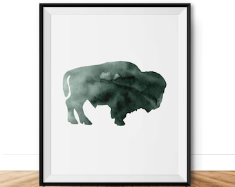 Green Watercolor Art Print in Forest, Woodland Forest Animal Wall Art, Moose Bear Silhouette Printable, Art Poster Animal Nursery Decor