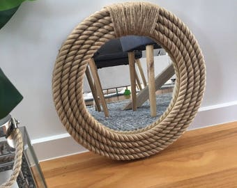 Nautical Hampton Elegant Round Rope Mirror Twisted Rope Home Decor Art Wall Hanging Mirror 41cm