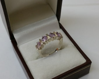 Ring 925 Silver with Crystal beads lilac SR699