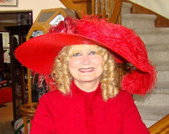 Kentucky Derby Hat, Ascot Hat, Edwardian Hat, Downton Abbey Hat, Women's Red Hat Titianic Hat - Lady Odessa
