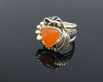 Southwest style Carnelian ring.  Orange carnelian with leaf and lizard.  Size 7