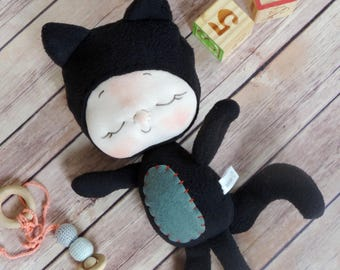 The BeBe Pet Black Cat Baby Doll by BEBE BABIES Soft Sculpture Baby Doll Waldorf Doll Baby Gift Child Gift Stocking Stuffer for Kid