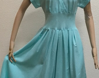 Spring Dress Blue Fit and Flare Caron Easter Day Frock Vintage Size 8