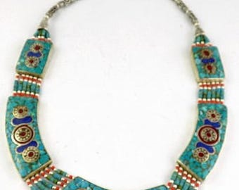ETHNIC Tibetan NECKLACE, traditional necklace, turquoise, coral, Nepalese colleir COTIB2