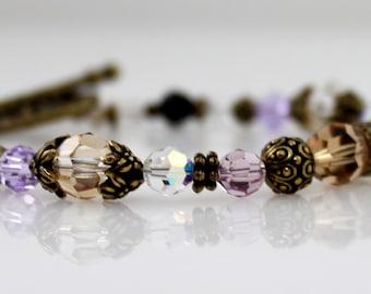 Swarovski Bracelet- Brown, Violet, and Brass Bracelet
