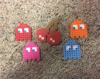 Pacman Ghost Perler Package with perler Cherries on a keychain or kandi bracelet