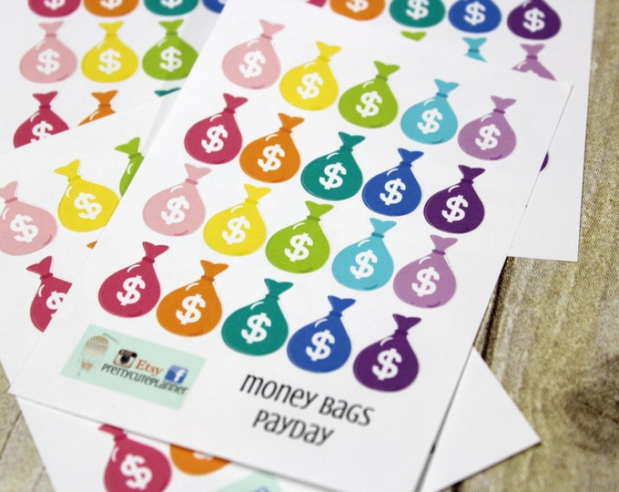 Pay Day Stickers -Reminder Stickers -Planner Stickers -Planner Flags -ECLP Stickers -Happy Planner -Money stickers - Financial Planner