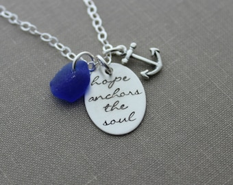 Cobalt Blue Sea glass hope anchors the soul, all sterling silver, anchor charm,  Hand stamped quote, Inspirational Jewelry, Hebrews 6:19