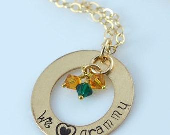 "We Love Grammy Necklace - 1"" Hand Stamped Gold Filled Donut, Birthstone Crystals"