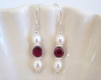 Garnet and Freshwater Pearl Earrings - Item  E1498