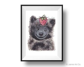 Dog Art Print - Spitz and Strawberries, Childrens Art, Kids Wall Art, Frameable Art, Animal Wall Art, Dog Art, Dog Portrait, Pet Art