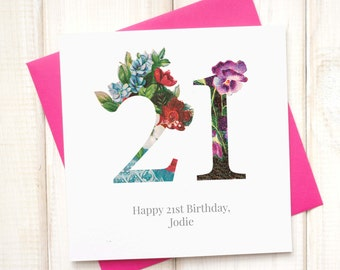 21st Birthday Card - Birthday Card for Her - Floral Birthday Card - Botanical Greetings Card - Coming of Age Card - Milestone Birthday