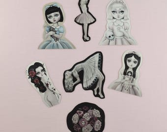 Sticker Set, Lowbrow popsurrealist, digital art prints, Alice in Wonderland , Lolita, Stocking Stuffer